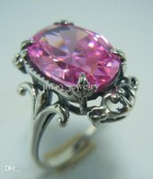 Wholesale Vintage sterling silver pink zircon The plant pattern Queen socialite fashion classic ring