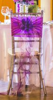 ribbon bow and flowers - 2015 Purple D Flowers Ruffle Chiffon Ribbon Bow Crystal Pearls Chair Sash Chair Covers Wedding Decorations Wedding Accessories