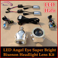 Wholesale LED Angel Eyes Halo HID Bi xenon Lens Projector Headlight Retrofit Kit Xenon Headlamps H1 H4 H7 HB3 Car Styling External Light