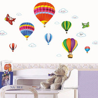 balloon wall stickers - Removable Vinyl Wall Stickers DIY Cartoon Airplane and Hot Air Balloons Home Decoration Wall Decals cm children s room