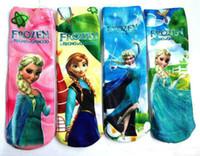 Cotton Blend cartoon children socks - Frozen cartoon socks princess Elsa Anna printed girls children kids socks long legging knee high kids cotton baby socks cheap