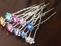 Wholesale Free ship pc Bride plate made a u shaped hair pins rhinestone plum hairpin hair accessories order lt no tracking