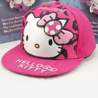 Wholesale Hello Kitty Children Fashion Baseball Hat Kids Snapback Cap Kids Toddler Summer Sun Hat Girls Outing Cap Gift