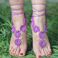 Wholesale Women Charming Bridemaid foot Crochet Beach Sandals Flower Style Cotton Anklet Ladies Barefoot bracelet Accessories
