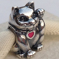 cat charms - High quality S925 Sterling Silver Waving Cat Charm Bead with Enamel Fits European Pandora Jewelry Bracelets Necklaces Pendant