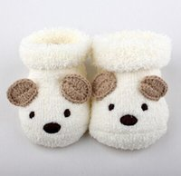 baby bear shoes - HOT SALE Cute Cartoon Baby Socks Bear Manual Slipper Shoes Newborn to Month Autumn Winter Infant Gift JIA562