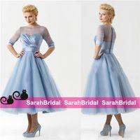 beach ball blue - 2015 Tea Length Wedding Evening Dresses For Beach Bridal Party Formal Wear s Vintage Design Sheer Crew Neck Dusty Blue Little Ball Gowns
