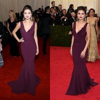 selena gomez dress - Selena Gomez Red Carpet Dresses Sexy V Neck With Ruffles Sweep Train Grape Stain Sheath Pageant Dresses Party Gowns