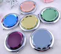 Wholesale 100pcs cm folding makeup mirror compact mirror with crystal metal pocket mirror for wedding gift cosmetic mirror