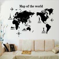 american home protection - Black world map wall sticker PVC autocollants muraux environmental protection removable wall stickers home decor