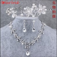america beaded jewelry - Many Styles Bling Bling Crystal Beaded Bridal jewelry With Rhinestone Wedding Crown Necklace Earring Arabic America QM