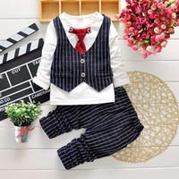 Boy Summer  Samll Baby Clothing Set For 2015 Spring Bow-Tie Grid Kid's Boy Suit Gentleman shirt vest + pants 2pcs Toddler Set British Cool 80-110 4set