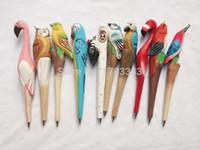 Wholesale DHL Wooden animal carving creative ballpoint pen Chinese Zodiac wood pens handmade sculpture HT34