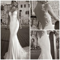 Cheap 2015 Sexy Vintage Mermaid Lace Wedding Dresses Spaghetti Strap Backless Beads Applique Lace Cathedral Train Stretch Satin Sweetheart Bridal