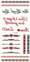 Wholesale 100 Sheets Flash Tattoo Red Sivler Metallic Tattoo Sticker Temporary Body Art Tattoos12 Models for Choose Free Express