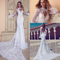 collier vintage novia achat en gros de-Vintage Mermaid High Collar Vestidos de Novia Applique Sheer Lace Bolero Keyhole Retour Train Cathédrale Monarch Mermaid Robes de mariée