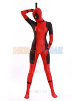 Wholesale 2015 Lady Deadpool Costume red black double black spandex deadpool costumes factory