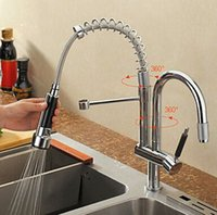 Wholesale kitchen faucet with two spouts chrome brass swivel kitchen mixer pull out kitchen sink tap