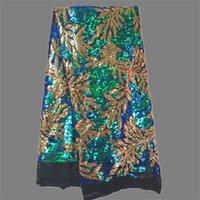 venda por atacado mesh fabric-Encantador casamento / partido do laço de tule Africano malha rendas tecido líquido Francês laço material com lantejoulas coloridas JNZ2-3 (5yards / PC)