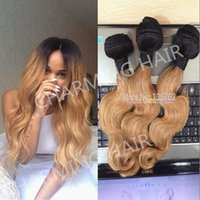 Wholesale 3pcs b honey blonde dark root ombre body wave virgin brazilian two tone human hair weaving weft extensions grade A with