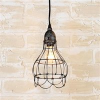 basket pendant light - New Edison Vintage Flower Basket Design Pendant Light Chandelier Wire Cage Ceiling Hanging Lampshade