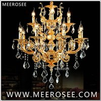 lustre d'éclairage vers le bas achat en gros de-Modern Luxury 12 Arms Crystal Chandelier Lampe Or Suspension Lustre Crystal Light pour Foyer Lobby MD8857 L8 + 4 D750mm H750mm