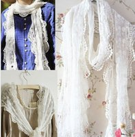 retail shawls - 2015 retail New Women Party Gift Embroidery Lace Flower Lace Trim Floral Long Scarf lace shawl