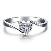 100% 925 de plata caliente de la venta 18K oro plateado 1 ct SONA simulado Anillos de compromiso de diamantes, anillo de plata esterlina para las mujeres Anillo