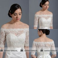 Wholesale Silver Shoulder Wrap Wedding Accessory - 2015 Off Shoulder Bridal Jackets Bolero Wrap Half Sleeve Lace Appliques Covered Buttons For Wedding Dresses Bridal Accessories Real Image