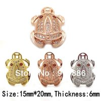 Wholesale Boutique Mosaic Cubic Zircon Fengshui Money Frog Crafts Gold Silver Rose Gold Fortune Toad Pendent For Charm Necklace Jewelry