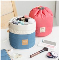 Wholesale New Arrival Barrel Shaped Travel Cosmetic Bag Nylon High Capacity Drawstring Elegant Drum Wash Bags Makeup Organizer Storage Bag ZZ