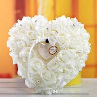 Wholesale Elegant Colorful White Crystals Pearl Bridal Ring Pillow Organza Satin Lace Bearer Flower Rose Pillows Bridal Supplies Beaded Wedding Favo