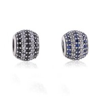 black bead necklace set - 2pcs Sterling Silver Blue And Black Cz Pave Charm Beads Set Fits European Style Charm Bracelets Charm Necklaces