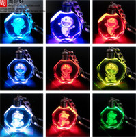 bell light box - Doraemon Tinker Bell Cartoon Anime Action Figure Toys LED Crystal Keychain With Colorful Night Light Key Chain Ring Pendant Gift Box Packing