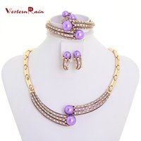 Bracelet,Earrings & Necklace costume jewelry - Latest Beautiful Gold Costume Jewelry Set Accessories for Women Dress K Gold Plated Party purple Pearl Fashion Jewelry A097