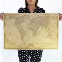 antique wall panels - Large Vintage World Map Home Decoration Detailed Antique Poster Wall Chart Retro Paper Matte Kraft Paper inch Map Of World