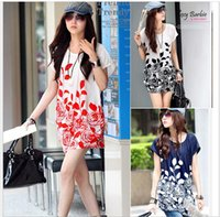 beautiful tees - 2015 Batwing Chiffon Blouse For Women Beautiful Flowers Printed s Ladies Plus Size Tops Tees