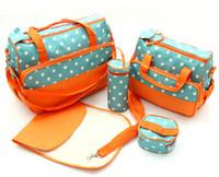 designer baby bag - 2014 Cheap Waterproof Diaper Bags Light Blue Tote Diaper Bags Best Designer Durable Diaper Bags Polka Dot SET Diaper Bags for Baby