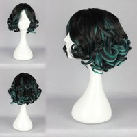 atrovirens color - Dishy Mysterious Atrovirens Mixed Black Short Deep Curly Lolita Wig