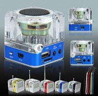 al por mayor mp3 mp4 pantalla-Nizhi TT-028 Altavoces portátiles de cristal Mini Speaker Altavoces portátiles FM TF LCD Subwoofer para iPhone 6 Plus 5 Reproductor de música MP3 DHL Free