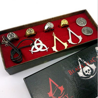 badge alloys - Assassins creed necklace a complete set of necklace and rings Deiss mond decorations brooch skeleton ghost head badge assassin creed cosplay