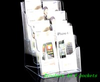 acrylic brochure - Clear A6 Eight Pockets Plastic Acrylic Brochure Literature Pamphlet Display Holder Racks Stand To Insert Leaflet