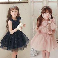 big star - 2015 Summer New Girl Dress Big Bowknot Shine Star Gauze Sundress Princess Dress T