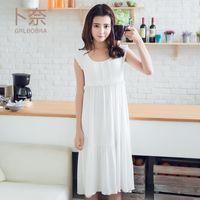 bamboo nightwear - 2017 girlfriend series new new comfortable green natural bamboo fiber fabric with chest pad women s Underwear sleeveless Nightwear housewar