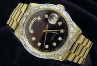 Wholesale Luxury WATCHES Top quality President k Yellow Gold Watch Black Diamond Bezel Watch Automatic Mens Men s Watch Watches Man Wristwatch