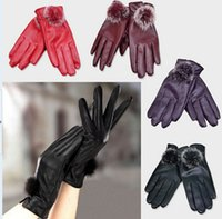 Wholesale Women Waterproof Riding gloves Fur Leather Gloves Rabbit Super Soft Warm Winter Outdoor Car Touchscreen gloves Christmas Gifts Colors