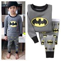 Wholesale Hot Cartoon Batman Sleepwear Baby Kids Boys Girls Cotton Nightwear Pajamas Pyjamas set Outfits