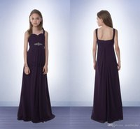 Wholesale 2017 Bill Levkoff Junior Bridesmaids Dresses Cheap Chiffon A Line Floor Length Flower Gril Dresses for Weddings Sweetheart Beads Zipper Back