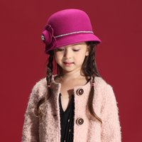 Wholesale Autumn and Winter Children Gril Hats Han Edition Dress Wool Felt Natural Wool Sunflower Auger Lace