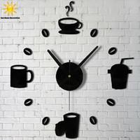 Wholesale 2016 new sale wall clock clocks d DIY black Acrylic mirror Stickers Modern Home Decoration shipping